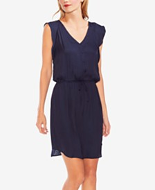 Vince Camuto Flutter-Sleeve Drawstring-Waist Dress