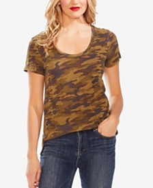 Vince Camuto Camouflage-Print Scoop-Neck T-Shirt