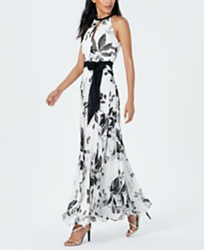 Calvin Klein Embellished Floral-Print Gown