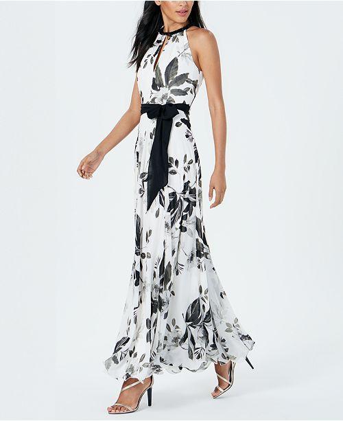 Calvin Klein Embellished Floral-Print Gown