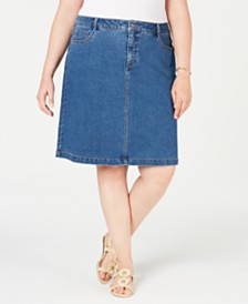 Charter Club Plus Size Denim Tummy-Control Skirt, Created for Macy's