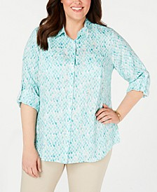 Plus Size Printed Button-Front Roll-Tab-Sleeve Linen Top, Created for Macy's