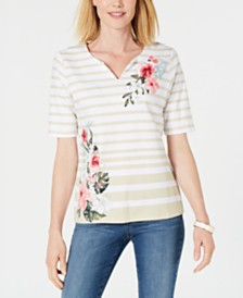 Karen Scott Striped Studded Top, Created for Macy's