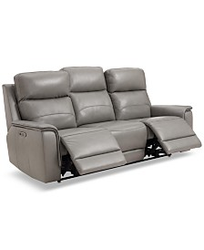 "Goodwick 83.5"" Leather Dual Power Motion Sofa, Created for Macy's"