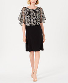 Connected Embroidered Overlay Sheath Dress