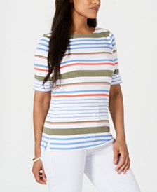 Karen Scott Petite Lulu Striped T-Shirt, Created for Macy's