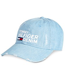 Tommy Hilfiger Men's Logo Embroidered Distressed Denim Cap