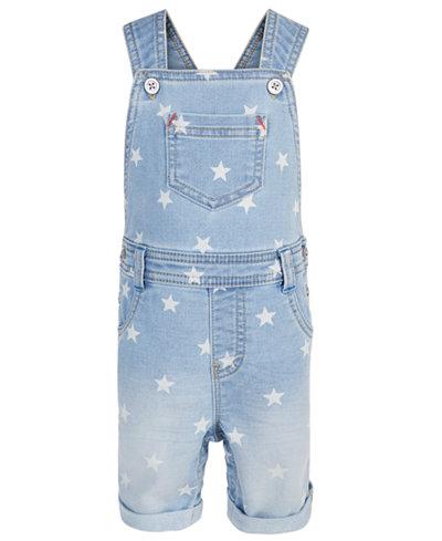 First Impressions Baby Boys Star-Print Denim Shortalls, Created for Macy's