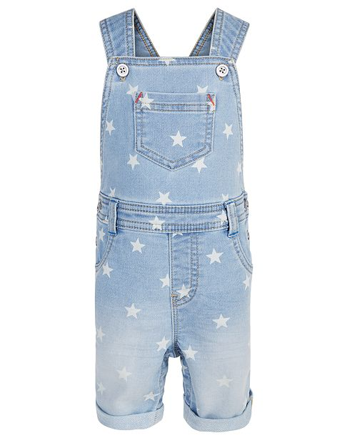First Impressions Baby Boys Star-Print Denim Shortalls, Created for Macy's