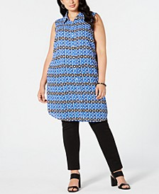 Plus Size Convertible Printed Button-Front Tunic Top, Created for Macy's