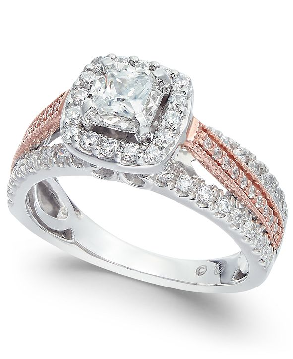 Macy's Diamond Two Tone Halo Engagement Ring (1 ct. t.w.) in 14k White Gold and 14k Rose Gold