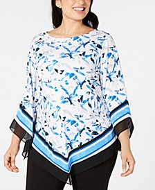 Plus Size Printed Pointed-Hem Top, Created for Macy's
