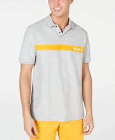 DKNY Men's Regular-Fit Moisture-Wicking Colorblocked Logo-Stripe Polo Shirt