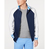 Michael Kors Mens Colorblocked Palm Logo Embroidered Track Jacket