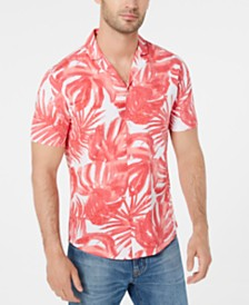 Michael Kors Men's Slim-Fit Stretch Striped Palm-Print Seersucker Camp Shirt