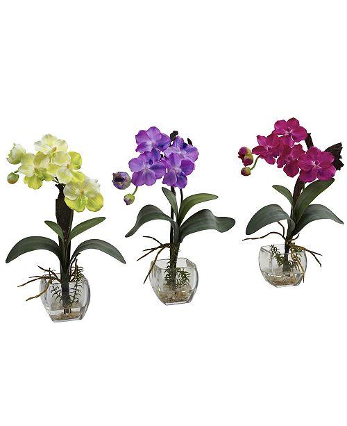 Nearly Natural Mini Vanda Orchid Arrangement, Set of 3