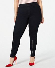 Plus Size Extreme Zip Hem Denim Leggings, Created for Macy's