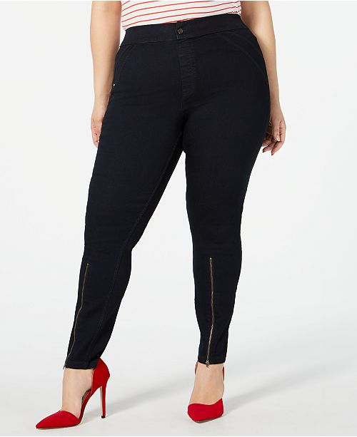 875d44b170b64 ... Hue Plus Size Extreme Zip Hem Denim Leggings, Created for Macy's ...