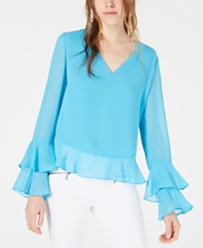Bar III Tiered Bell-Sleeve Top, Created for Macy's
