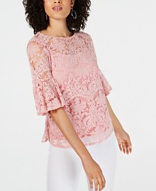 NY Collection Petite Burnout Bell-Sleeve Top