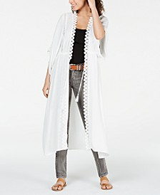 Juniors' Crochet-Trimmed Long Kimono, Created for Macy's