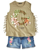 66c7a80a290 GUESS Big Girls Embellished Tank Top & Embroidered Denim Shorts