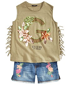 GUESS Big Girls Embellished Tank Top & Embroidered Denim Shorts