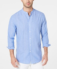 Club Room Men's Pinstripe Button-Down Linen Shirt, Created for Macy's