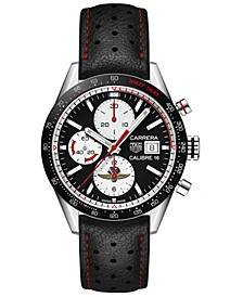Men's Swiss Automatic Chronograph Carrera Black Perforated Leather Strap Watch 41mm - Limited Edition