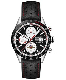 TAG Heuer Men's Swiss Automatic Chronograph Carrera Black Perforated Leather Strap Watch 41mm - Limited Edition
