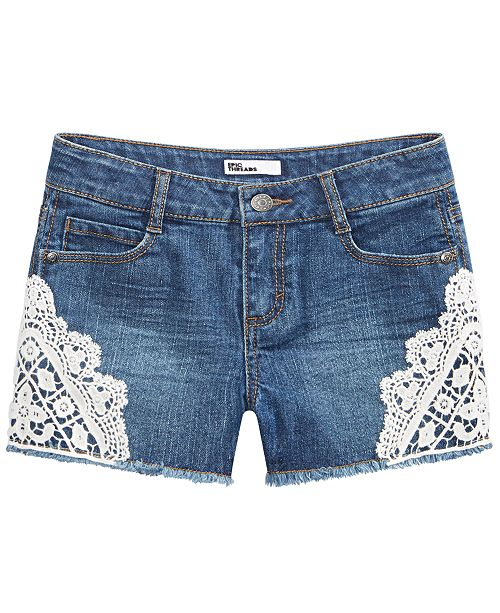 Epic Threads Big Girls Crocheted Denim Shorts, Created for Macy's