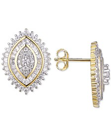Cubic Zirconia Cluster Stud Earrings in 14k Gold-Plated Sterling Silver