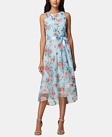 Floral-Embroidered Belted A-Line Dress