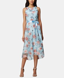 Tahari ASL Floral-Embroidered Belted A-Line Dress