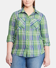Lauren Ralph Lauren Plus Size Cotton Twill Shirt