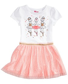 Epic Threads Little Girls Ballerinas-Print T-Shirt & Pleated Tulle Skirt, Created for Macy's