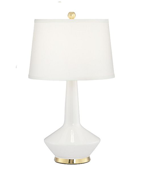 Pacific Coast White Ceramic Table Lamp with Gold Accents
