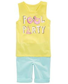 Epic Threads Little Girls Pool Party Graphic Tank Top & Shorts Separates, Created for Macy's