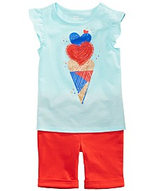 Epic Threads Little Girls Ice Cream Heart Graphic Flutter Top & Shorts Separates, Created for Macy's