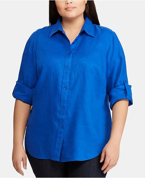 72b68e332 Lauren Ralph Lauren Plus Size Linen Shirt & Reviews - Tops - Plus ...