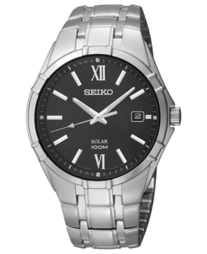 Seiko Watch, Men's Solar Stainless Steel Bracelet 38mm SNE215