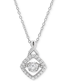 "Cubic Zirconia 18"" Pendant Necklace in Sterling Silver, Created for Macy's"