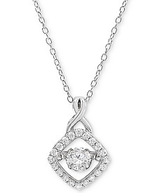 "Arabella Cubic Zirconia 18"" Pendant Necklace in Sterling Silver, Created for Macy's"