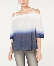 BCX Juniors' Dip-Dyed Crochet Off-The-Shoulder Top