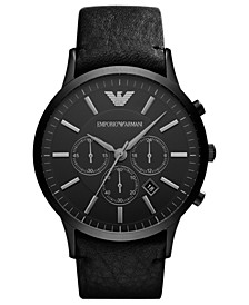 Watch, Men's Chronograph Black Leather Strap 46mm AR2461