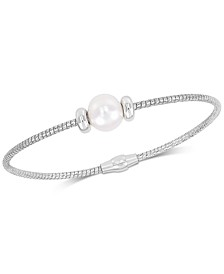 Cultured Freshwater Pearl (8-9mm) Bangle Bracelet in Sterling Silver