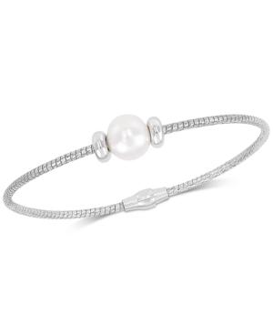 Cultured Freshwater Pearl (8-9mm) Bangle Bracelet in Sterling Silver