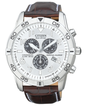 Citizen Men's Eco-Drive Perpetual Calendar Chronograph Brown Leather Strap Watch 44mm BL5470-06A