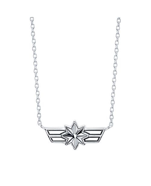 "Marvel Star Shield Pendant Necklace in Sterling Silver for Unwritten, 16"" + 2"" extender"