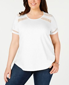 Charter Club Plus Size Crochet-Trim Cotton T-Shirt, Created for Macy's